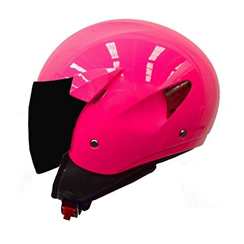 casco moto verano tipo jet mt helmets city sport rosa fluor (S)