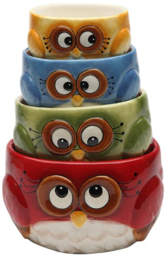 Cosmos Gifts 10911 Owl design 4-piece measuring Cup set