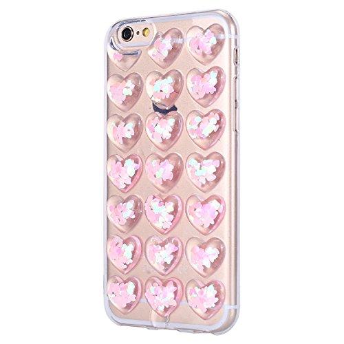 Custodia Cover iPhone 6/iPhone 6s (4.7), EUWLY Cover Case per iPhone 6/iPhone 6s (4.7), Fashion TPU Trasparente Morbido Protezione Silicone Custodia Bling Glitter Brillantini Cristallo Chiaro TPU Co Cristallo Rosa
