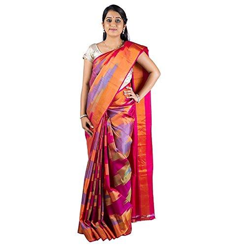 Indian Multicolor Handloom Uppada Soft Pattu Sarees for Women - Free watch gift