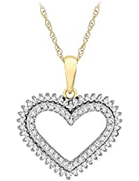 Pave Prive Women's 9ct Yellow Gold Round and Baguette White Diamonds Heart Pendant Necklace of 44.5cm