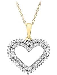 Pavé Privé Damen 9ct Gelb Gold Rund und Baguette weiß Diamanten Herz Anhänger Halskette von 44,5cm