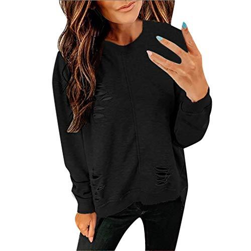 Glücklich Crewneck Sweatshirt (Damen Crewneck Sweatshirt Damen Langarm T-Shirt Rundhals Ausschnitt Lose Bluse Hemd Pullover Oversize Sweatshirt Oberteil Tops)