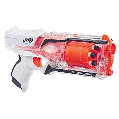 Nerf Elite Strongarm blanc et orange et Flechettes Nerf Elite Officielles - Exclusivité Amazon