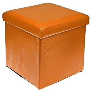 Ashley Mills New Ottoman Foldaway Storage Blanket Toy Box Faux Leather Orange