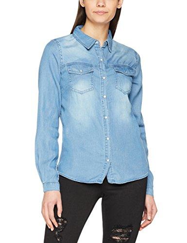 Vila - Vibista Denim Shirt-noos, Camicia Donna Blu (Medium Blue Denim Wash:clean)