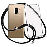 mtb more energy® Handykette für Samsung Galaxy A8 2018 (SM-A530, 5.6'') - schwarz - Smartphone Hülle zum Umhängen - Anti Shock Strong TPU Case