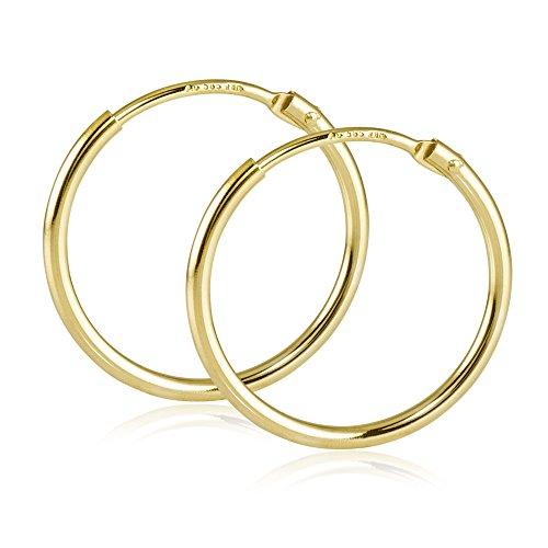 MATERIA Damen Creolen 585 Gold Ohrringe 17mm Goldcreolen klein flexibel mit Geschenk-Box Made in Germany #SO-376_B4 (Kleine Goldene Creolen)