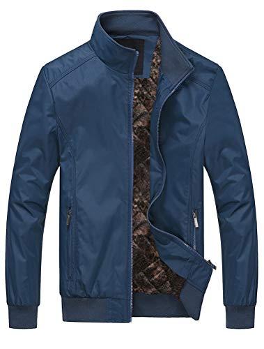 MatchLife Herren Bomberjacke Übergangsjacke Leichte Jacke Casual Mäntel mit Stehkragen Style2 Blue XL