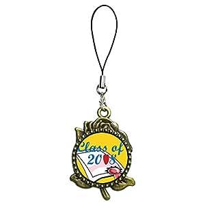 Giftjewelryshop bronzo antico stile retrò classe di 2008diploma Graduation photo rose Flower tracolla catenella, ciondolo fascino del telefono cellulare