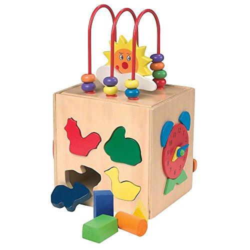 """Small Foot by Legler Aktiv-Würfel """"Sonne"""" aus Holz, mit fünf Seiten Spielspaß, in einem farbefrohen und niedlichen Design, schult die Feinmotorik, toller Spielspaß für kleine Kinderhände ab 3 Jahren"""