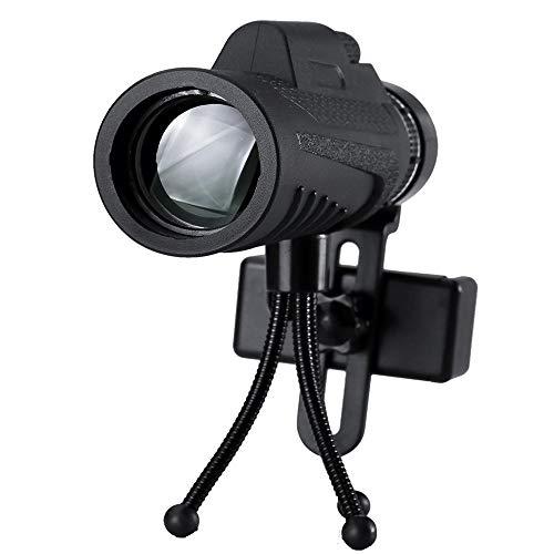 Yamyannie-Home 40x60 Ultra monocular óptico de la Lente luz de la Noche Baja visión de HD Telescopio + Clip + trípode for el teléfono (Color : Negro, tamaño : C=40x60)