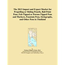 The 2013 Import and Export Market for Propelling or Sliding Pencils, Ball Point Pens, Felt-Tipped or Porous-Tipped Pens and Markers, Fountain Pens, Stylographs, and Other Pens in Thailand