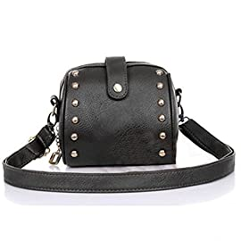 Koly Women's Bag Faux Leather Shoulder Mini Purse Camera Bag Rivets Small Bags