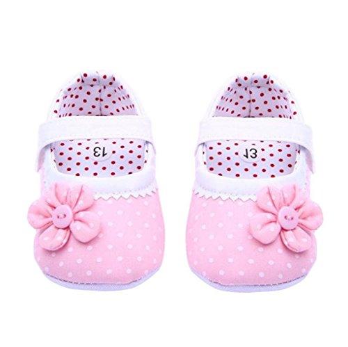 Ouneed® Krabbelschuhe , 0-18 Monate Baby Sommer Baby Mädchen Blumen Schuhe weiche Sohle Kleinkind PU Leder Krippe Schuhe Hell Pink