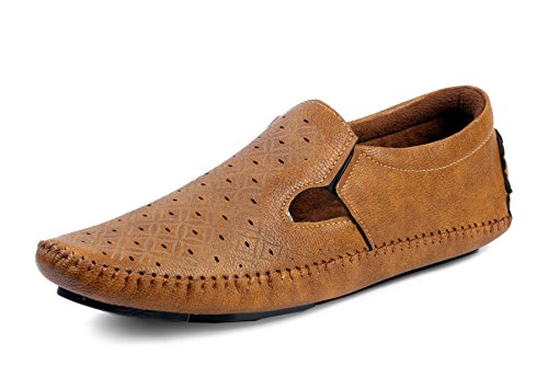 Red Rose Men's Tan Synthetic Stylish Driving Loafer Shoes (7, Tan)