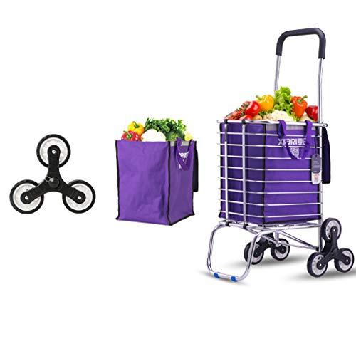 CAO-LIFE 6 Räder Klettern Treppe Einkaufswagen Trolley Aluminium Tri-Rad Haushaltswagen Leicht Faltbar - Lila (pcs1) (Farbe : 6 Rounds)