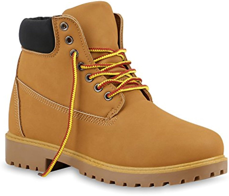 Stiefelparadies Unisex Damen Herren Worker Boots übergrößen FlandellStiefelparadies Outdoor Schnürstiefel Hellbraun Flandell