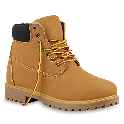 Unisex Damen Herren Boots Bequeme Worker Boots Profilsohle Outdoor Schuhe 128445 Hellbraun Gelb Rot 42 Flandell