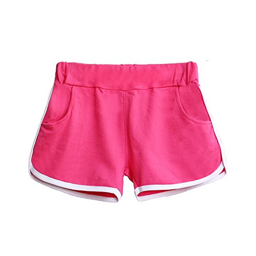 Etosell Femmes Entrainement De Gym Ceinture Skinny Yoga Pantalons Courts Rouge + Rose