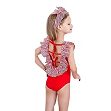6e38c41d6c4 Sunward Baby Girls  Backless Bikini Ruffles Sleeve Swimsuits Backless  Bathing Suits For Toddler 3T Red