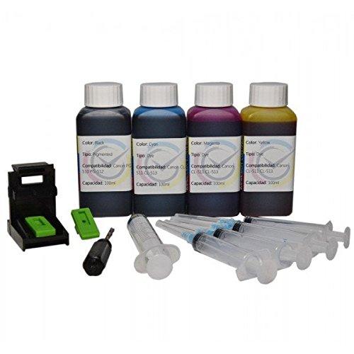 Кit carga cartuchos de tinta Canon PG-512 y CL-513, color negro y color Inktec 400 ml de tinta altà calidad refill para impresora Canon MP 495