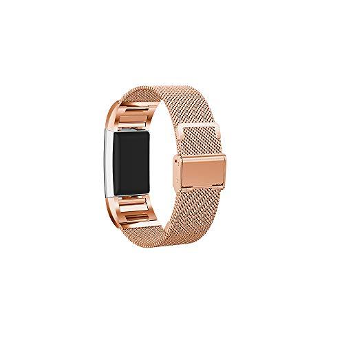für Fitbit Charge 2 Uhrenarmband,Hongtianyuan Metallarmband Ersatzarmbänder Ersatzarmband Erweiterbar Armband für Fitbit Charge 2 (Rosegold) - Herren-erweiterbar-uhr Bänder