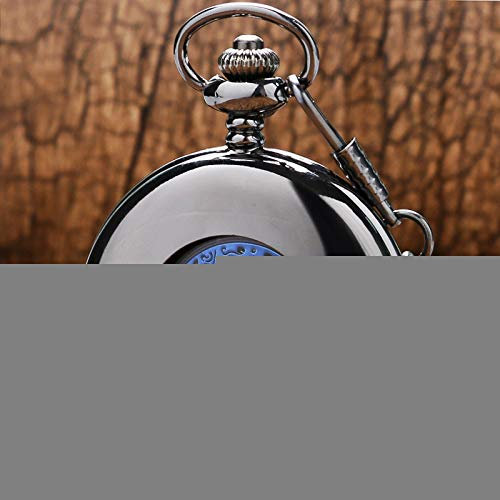 SDVIB Taschenuhr Klassische Steampunk Black Smooth Case Hohle mechanische Hand Wind Taschenuhr Royal Blue Skeleton Männer Frauen Anhänger Fob Kette, blau