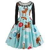 Frauen langes Kleid Damen Slim fit Party Dress Mode Frohe Weihnachten Vintage Print Spitze Abend oansatz Abend schaukel Flare Dress Moonuy