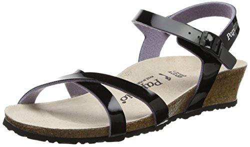Papillio Damen Alyssa Birko-Flor Riemchensandalen, Schwarz (Two-Tone Patent Black), 39 EU (Patent Schuhe Schwarz Leder Frauen)