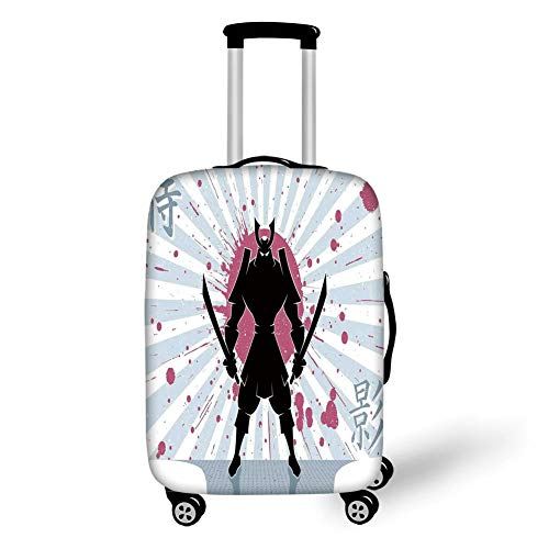 Travel Luggage Cover Suitcase Protector,Japanese,Cartoon Dark Samurai in Body Armour with Helmet on Sunburst Vintage Illustration,Pink Black,for Travel,M -