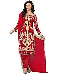 K Designer Women's Chiffon Unstitched Dress Material (Mehak1005_Multi-coloured_Freesize)