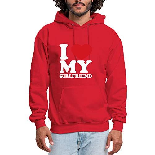 SHENMAHU Men Hooded Sweatshirt I Love My Girlfriend Simple Sweet Logo - Pullover Hoodie, Classic & Comfortable Kapuzenpulli XL ()