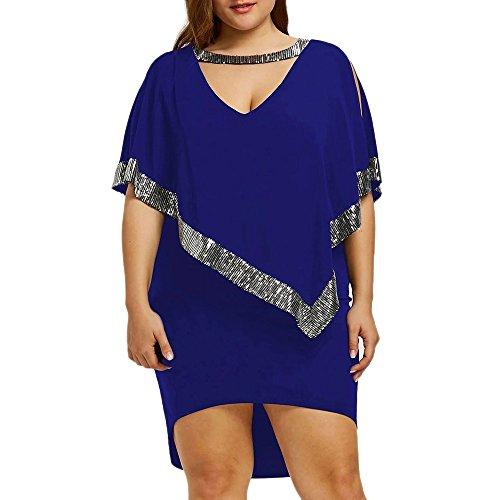 VEMOW Ballkleid Elegante Damen Plus Size Pailletten Dekoriert V-Ausschnitt Halbe Ärmel Sparkly Capelet Kleid Cocktailkleid Abendkleid(Blau, EU-42/CN-XL)