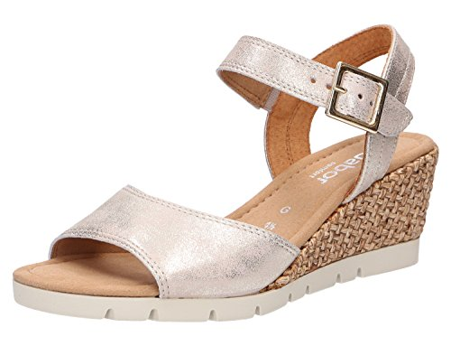 Gabor Nieve Womens Wedge Heel Sandalen 4 UK/ 37 EU Powder Metallic Plat