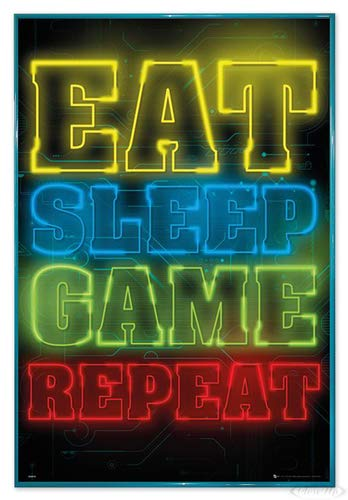 Close Up Gaming Poster Eat Sleep Game Repeat (94x63,5 cm) gerahmt in: Rahmen türkis