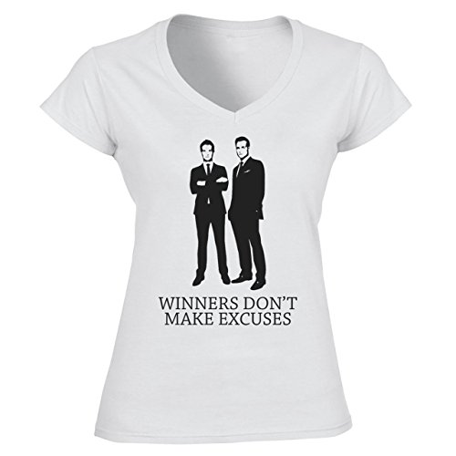 Winners Don't Make Excuses Suits Tv Series Damen V-Neck Weiß