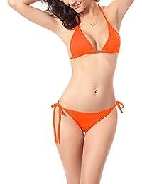 5088a9108f0b8 Monissy Femmes Sexy Bikini Couleur Unie Dos Nu Bandage Push Up Maillots De Bain  2 Pièces Elégante Triangle Soutien-Gorge Pas Cher…