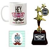YaYa Cafe Awesome Dad Trophy Gift Combo Set Of 3 - Trophy, Mug And Coaster