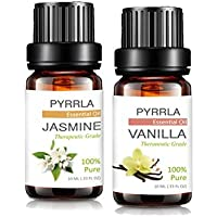 Essential Oils 10ml Jasmine & 10ml Vanilla, Aromatherapy essential oil Basic Sampler aromatherapy oils Gift By PYRRLA