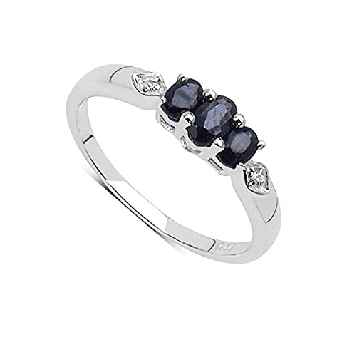 The Sapphire Ring Collection: Ladies Sterling Silver 3 Stone Black Sapphire Engagement Ring (Size