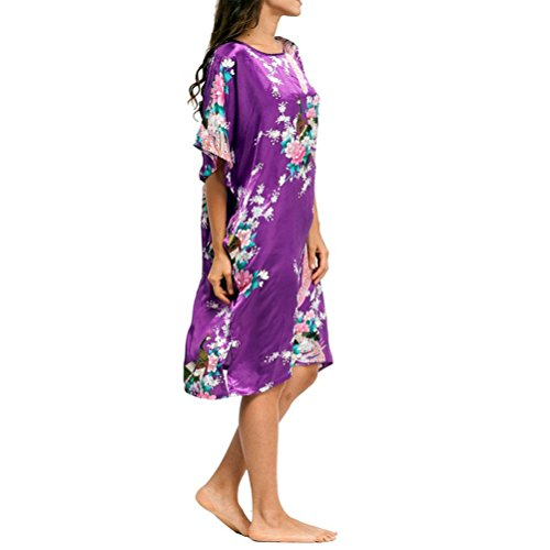 Laixing Haute Qualité Women Short Sleeve Loose Soft Nightgown Yukata Robe Sleepwear One Size CL-WQ1 purple