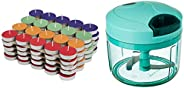 Amazon Brand - Solimo Colored Wax Tealight Candles (Set of 100, Unscented) & Vegetable Chopper (Large, 725