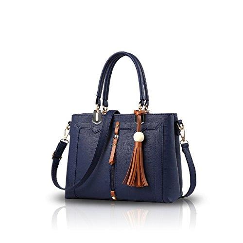 NICOLE&DORIS Donne semplice borsa di Crossbody Bag Commute Totes morbido PU Blu Blu