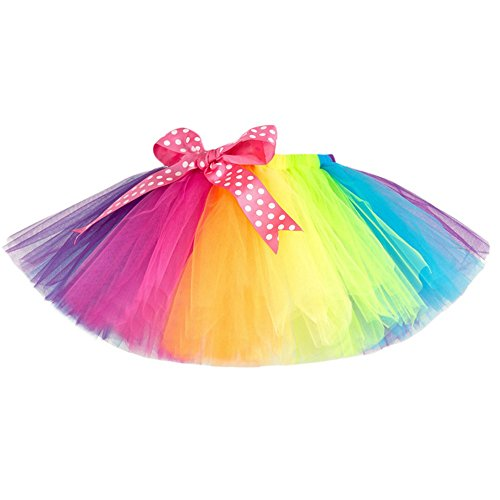 Rock Kinder Mädchen Tüll Party Dance Ballett Kinder Regenbogen (XL) ()