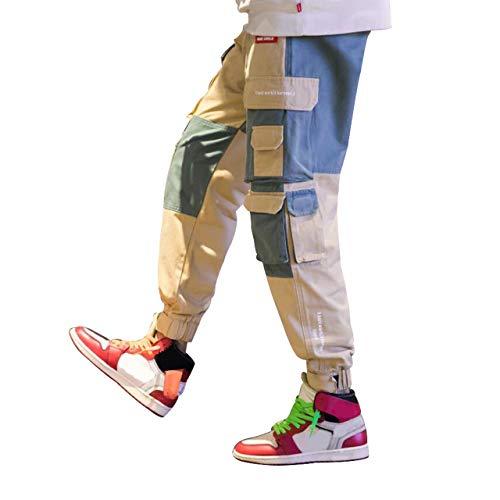 Irypulse Pantaloni Cargo Uomo Moda da Strada Urbana, Pantaloni da Combattimento Lavoro per Adolescenti e Giovani Ragazzi, Pantaloni Sportivi Casual Sciolto Multi Tasca - Design Originale
