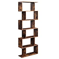 VASAGLE Bücherregal, Regal, Standregal zur Präsentation, freistehender Schrank, Dekoregal mit 6 Ebenen, Vintage, Dunkelbraun LBC61BX