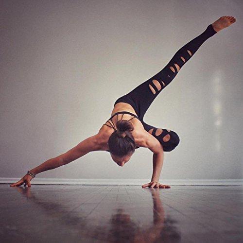 Vovotrade® Jambières pour femmes Pantalon Déchiré YOGA Jambières en Forme de Yoga Running Gym Stretch Pantalons de Sport Pantalons Noir
