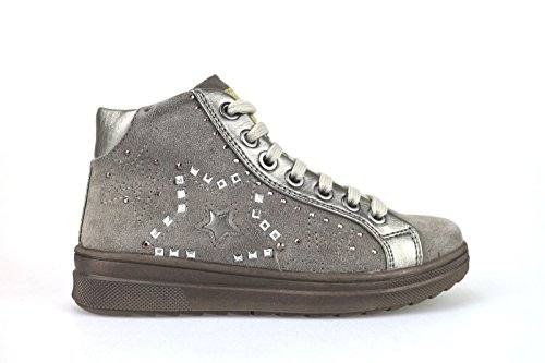 DIDI BLU sneakers bambina con lacci e cerniera camoscio (33 EU, Beige)