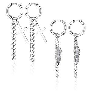 Besteel 2 Paare Edelstahl Kreuz Kette Ohrringe Für Männer Frauen Herren Feder Hoop Ohrringe Creolen Piercing Ohrstecker Silber